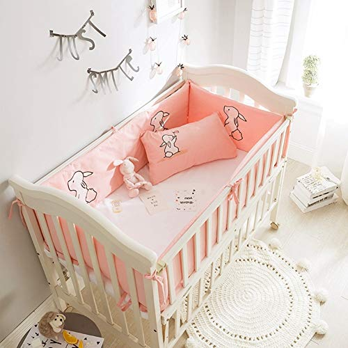 Rart 4 Piece Breathable Crib Bumper,Thicken Crib Rails Unisex Nursery Cradle Decor Crib Bedding Soft Cushion Safety Protector-Collision Resistant-pinkA 120x60cm(47x24inch)
