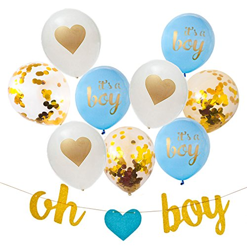 Baby Boy Shower Decorations, 13 Piece Set Includes Oh Boy Banner, Blue It's a Boy Balloons, Confetti Balloons, Gold Heart Balloons and Baby Shower Planner for Memorable Event