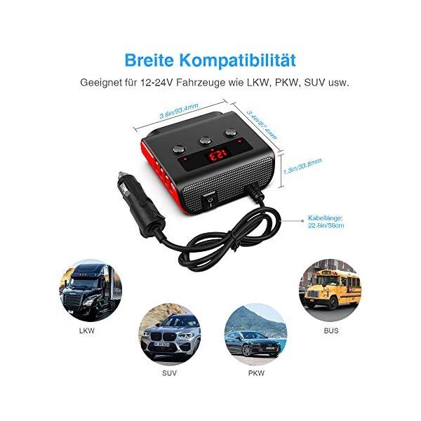 51T%2BOOwvhmL Auto Ladegerät Adapter, SONRU 3 Fach KFZ Zigarettenanzünder Verteiler mit 4 USB Ports, 120W 12V/24V DC Mehrfach…
