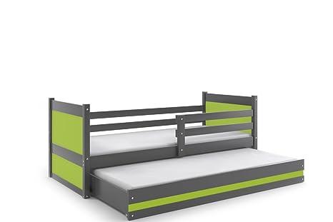 Letti Estraibili Bambini : Rico letto singolo con letto estraibile pull out grafite in legno