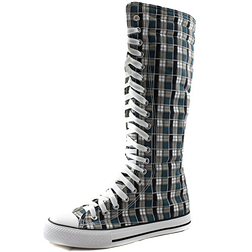 DailyShoes Women's Knee High Punk Sneaker Boots Punk-Hi Plaid, 8.5 ()