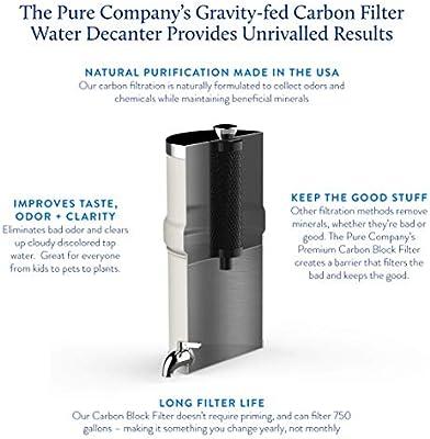 The PURE Company Decantador de filtro de agua de carbono no ...