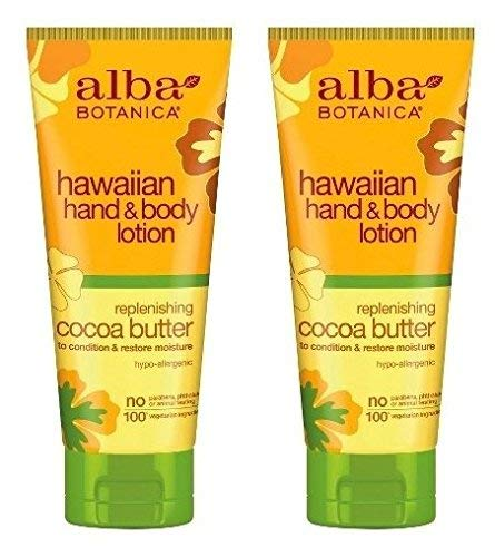 Hawaiian Hand and Body Lotion Cocoa Butter (Pack of 2) With Aloe, Shea Butter, Sunflower Seed Oil, Linseed Oil, Jojoba Oil, Cocoa Butter, Pineapple and Ginger, 7 fl. oz. Each