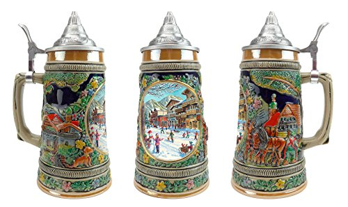 """Winter In Germany"" Essence of Europe Gifts E.H.G. Collectible Ceramic Beer Stein with metal lid (#1 in Collection of Four Steins)"