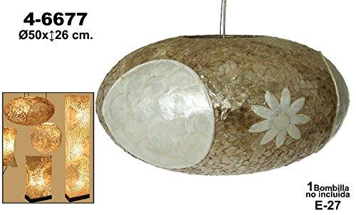 DRW - Lámpara de techo circular de fibra y nácar con flores ...