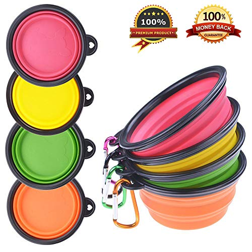 (PetBonus 4-Pack Silicone Collapsible Dog Bowls, BPA Free and Dishwasher Safe, Portable and Foldable Travel Bowls-with 4-Color Carabiners Per Set)