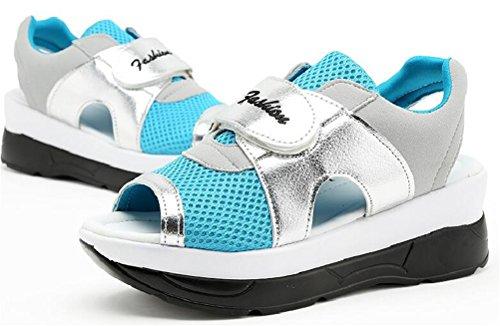 Plate-forme Pour Femmes Peep Toe Wedges Chaussures Deau Casual Sandales Dathlétisme Bleu