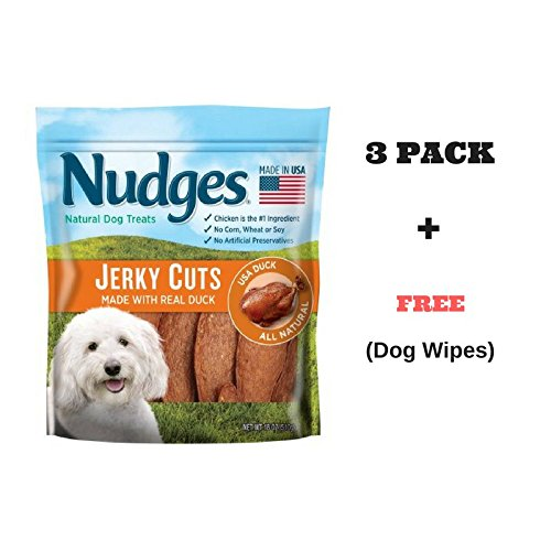 Nudges Premium Jerky Cuts Dog Treats, Roasted Duck, 18 Ounce (18 oz.(3 Pack)) by Tyson Pet Products