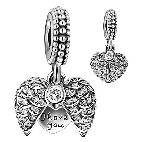 925 Sterling Silver I Love You to the moon & back Heart Dangle Charm Bead for European Snake Chain Bracelets