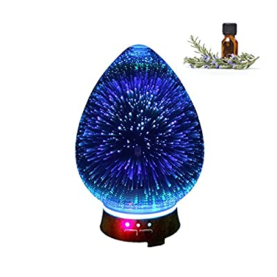 Aromatherapy Diffuser, Wood and Glass Aromatherapy for Relaxation and Healing, Oil Diffuser for Home, Office, Yoga, or Baby, Aroma Diffuser, Firework Aromatherapy Oil Diffuser