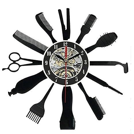 TOOGOO Reloj creativo de vinilo de Grabar CD Reloj de pared de arte con diseno de Patron de Herramientas de Peluqueria Peluquero: Amazon.es: Hogar