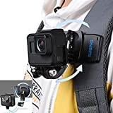 RUIGPRO Backpack Strap Quick Clip Mount for GoPro Hero8/ 7/6/5, for DJI OSMO Action Camcorders, Video Shooting Accessories, Stable & 360° Adjustable, Flexible Angle