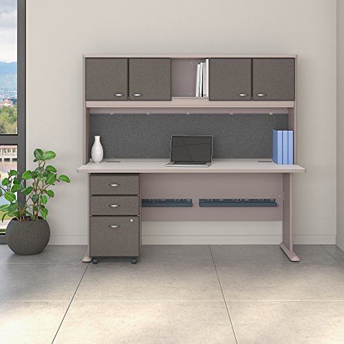 Bush Business Furniture Series A 72W Desk with Hutch and Mobile File Cabinet in Pewter and White Spectrum