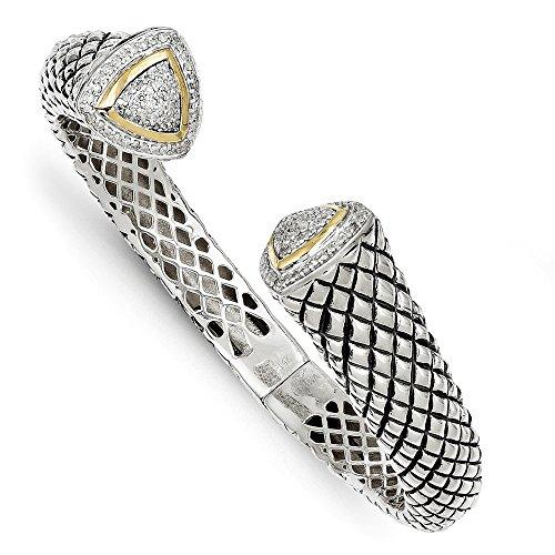 Sterling Silver Hinged Polished Prong set Antique finish and 14k Yellow Diamond Bangle Bracelet