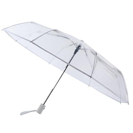 eec2df1d96e2 Wongfon Ombrello Pieghevole Trasparente Automatico,Ombrello Portatile  Resistenza Compatto Pioggia Ombrello Sposa Matrimonio,antivento ombrello di  ...