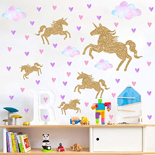 Watercolour Unicorn Wall Stickers Kids Wall Decals Peel and Stick Removable Wall Decor for Kids Nursery Bedroom Living Room(Cloud Unicorn) (Stickers Heart 30 Wall Pcs)