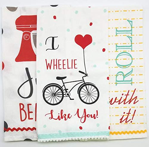 - 3 Flour Sack Kitchen Towels ~ Set of 3 Embellished Hand Towels with Cute Sayings ~ Bonus Gift: Dishcloth