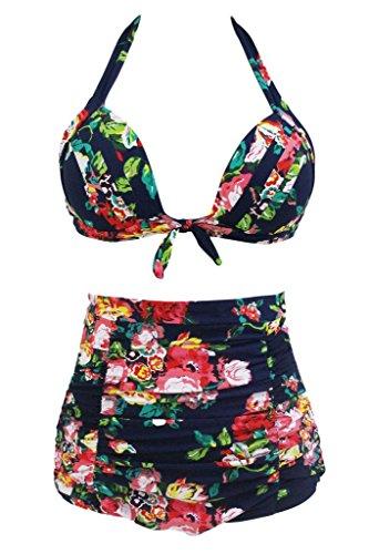 HOTAPEI High Waist Retro Bikini Carnival Swimsuit Swimwear Set