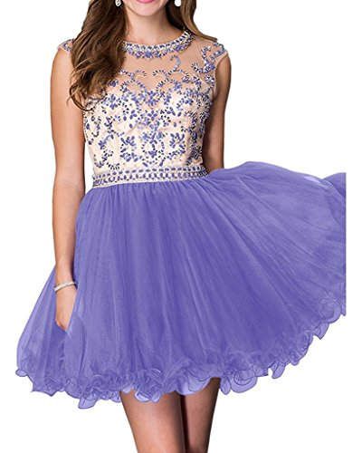 Cocktail Homecoming Party Open Back Lavender Prom Short Tulle Gown Chupeng Women's Beading Dress wvfqnYSUx