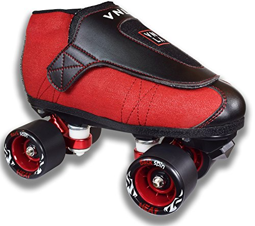 Mens Jam Roller Skates (VNLA Code Red Jam Skates | Quad Roller Skates from Vanilla - Indoor speed skates - Denim and Leather - for Tricks and Rhythm skating (Red and Black))