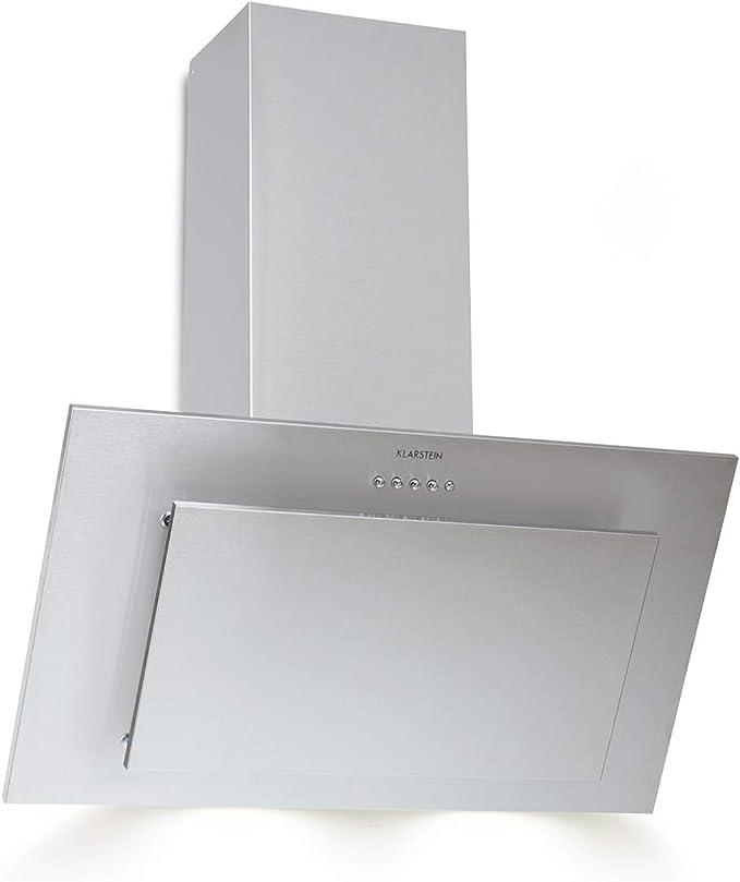 Klarstein Klarstein Athena Campana extractora - Extractor de humos, 60 cm, 350 m³/h, 65 W, Filtro de grasa de aluminio, Panel de botones, Solo 64 dB, Acero inoxidable, LED, Plateado: Amazon.es: Hogar