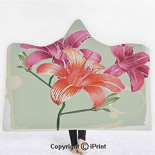 "(Vintage Floral 3D Print Soft Hooded Blanket Boys Girls Premium Throw Blanket,Lily Flowers on Grunge Backdrop Gardening Plants Growth Botany,Lightweight Microfiber(Kids 50""x60"") Pale Green Salmon Pink)"