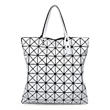 quilted foot stools - HGNBMG Women Matte Colors Bag Laser Sac Tote Bags 88 Geometry Quilted Shoulder Bag WHITE