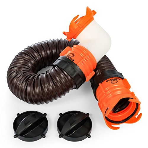 (Camco RhinoFLEX 3' Tote Tank Sewer Hose Kit - Conveniently Connects Your Portable Waste Holding Tank to Any Lug Sewer Fitting (39768))