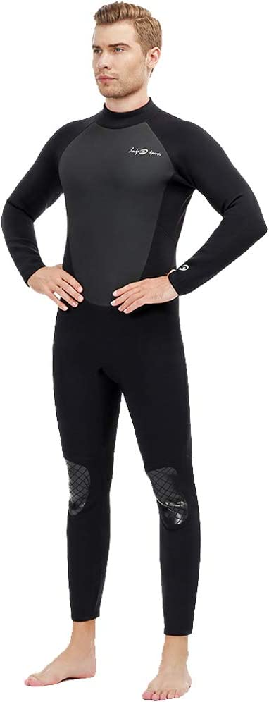 lockys sports Full Body Dive Wetsuit, 3mm Neoprene Wetsuit, Long Sleeve Swimwear with Adjustable Collar for Diving Surfing Snorkeling for Men