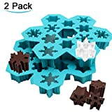 3d mini vacuum - Snowflake Ice Cube Trays, Easy Release Silicone Ice Mold Create 6 Different Snow Flake Ice Cubes for Cocktail 3D Christmas Candy Chocolate Mold ATOZEDO Ice Cube Molds Dishwasher Microwave Safe(2 Pack)