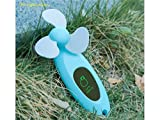 Junson Portable Interesting Mini Fan USB Portable Handheld Fan with LED Display and Mirror 3 AAA Battery/USB Powered for Home Office and Desk(Blue) for Summer