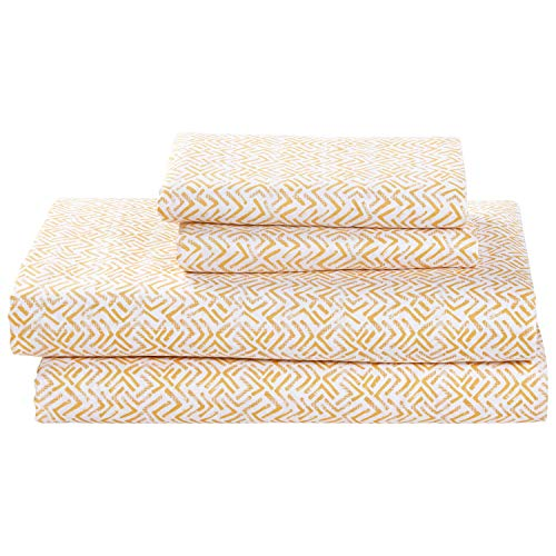 Rivet Boomerang Sateen 100% Cotton Bed Sheet Set, Queen, Rattan Yellow