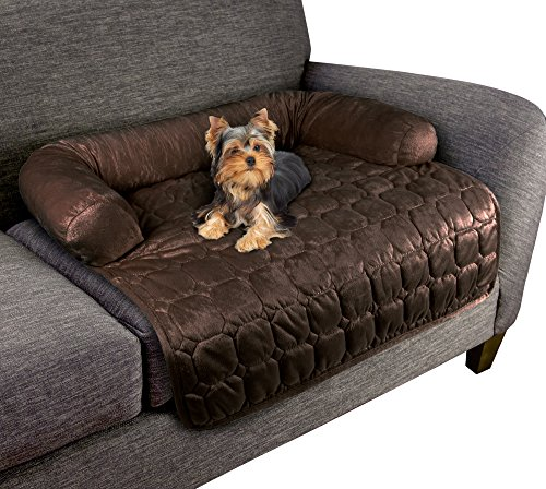 """Furniture Protector Pet Cover for Dogs and Cats with Shredded Memory Foam filled 3-Sided Bolster Soft Plush Fabric by PETMAKER Â- 30"""" x 30.5"""" Brown"""