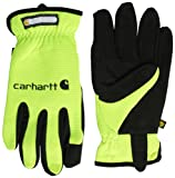 Carhartt Men's Work Flex Spandex Work Glove with Water Repellant Palm, Hi Visibility Lime, Small