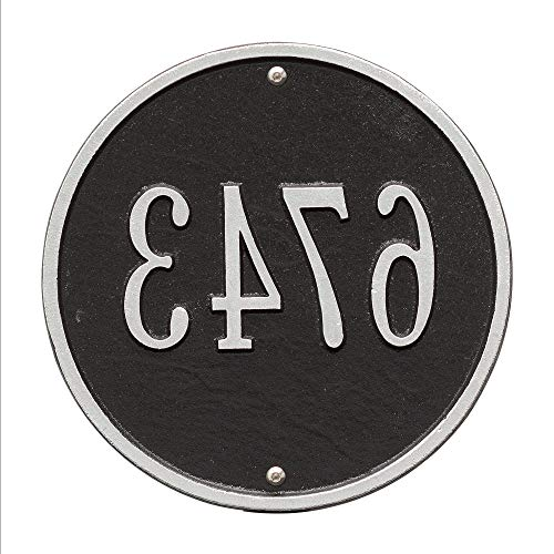Personalized Products 9-Inch Standard One Line Round Wall Address Plaque in Black/Silver