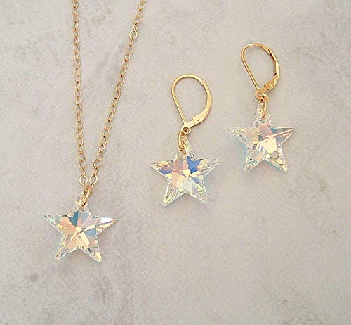 (Aurora Borealis Star Crystal Gold Filled Earring Necklace Set Made With Swarovski Gift Idea)