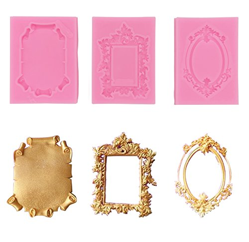 Baroque Style Curlicues Scroll Lace Photo frame Fondant Silicone Mold for Sugarcraft, Cake Border Decoration, Cupcake Topper, Jewelry, Polymer Clay, Crafting Projects (3pcs)