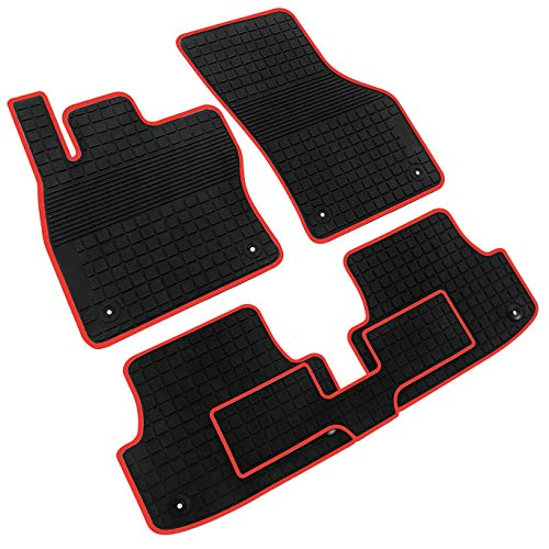 iallauto Compatible for Audi A3 2016 2017 2018 Heavy Duty Rubber Front & Rear Floor Mats Liners Vehicle All Weather Guard Black Carpet Audi A3 Rear Mat