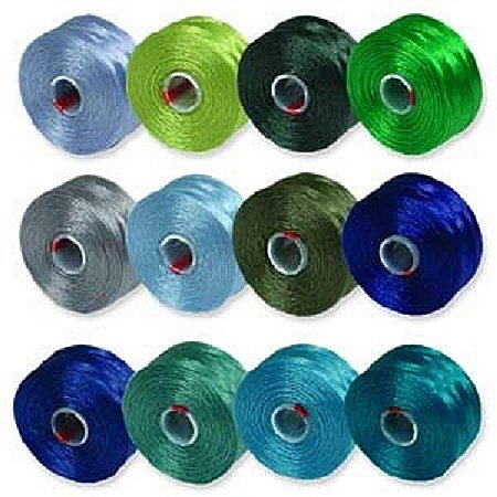 S-Lon Beading Thread Mixture 12 Colors Size D - Blues and Greens