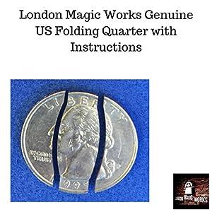 London Magic Works Vanishing Folding Coin Plus 40 Tricks– With A Genuine US Quarter – Super Easy Tricks That Always Amaze