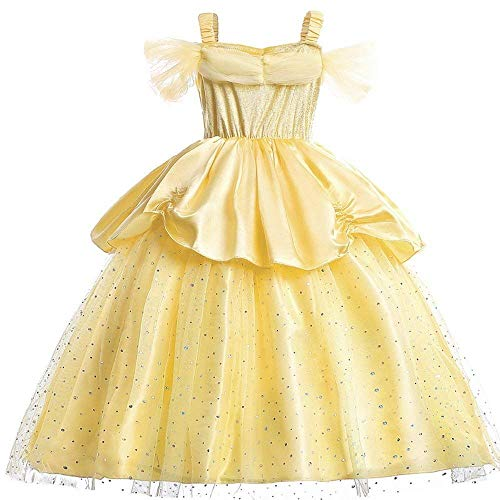Little Girls Yellow Roses Princess Costume Dress Off Shoulder Layered Dress up (2T) Yellow - http://coolthings.us