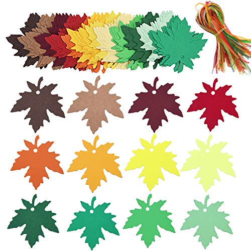 Livder 120 Pieces 12 Colors Leaves Gift Tags, Favor Thank You Cards Blank Kraft Paper Gift Sign Labels with Organza Ribbons