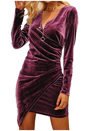 Coolred Dress Velvet Women Ruffle Purple V Asymmetric Evening Sleeve Long Neck 1H1wrg
