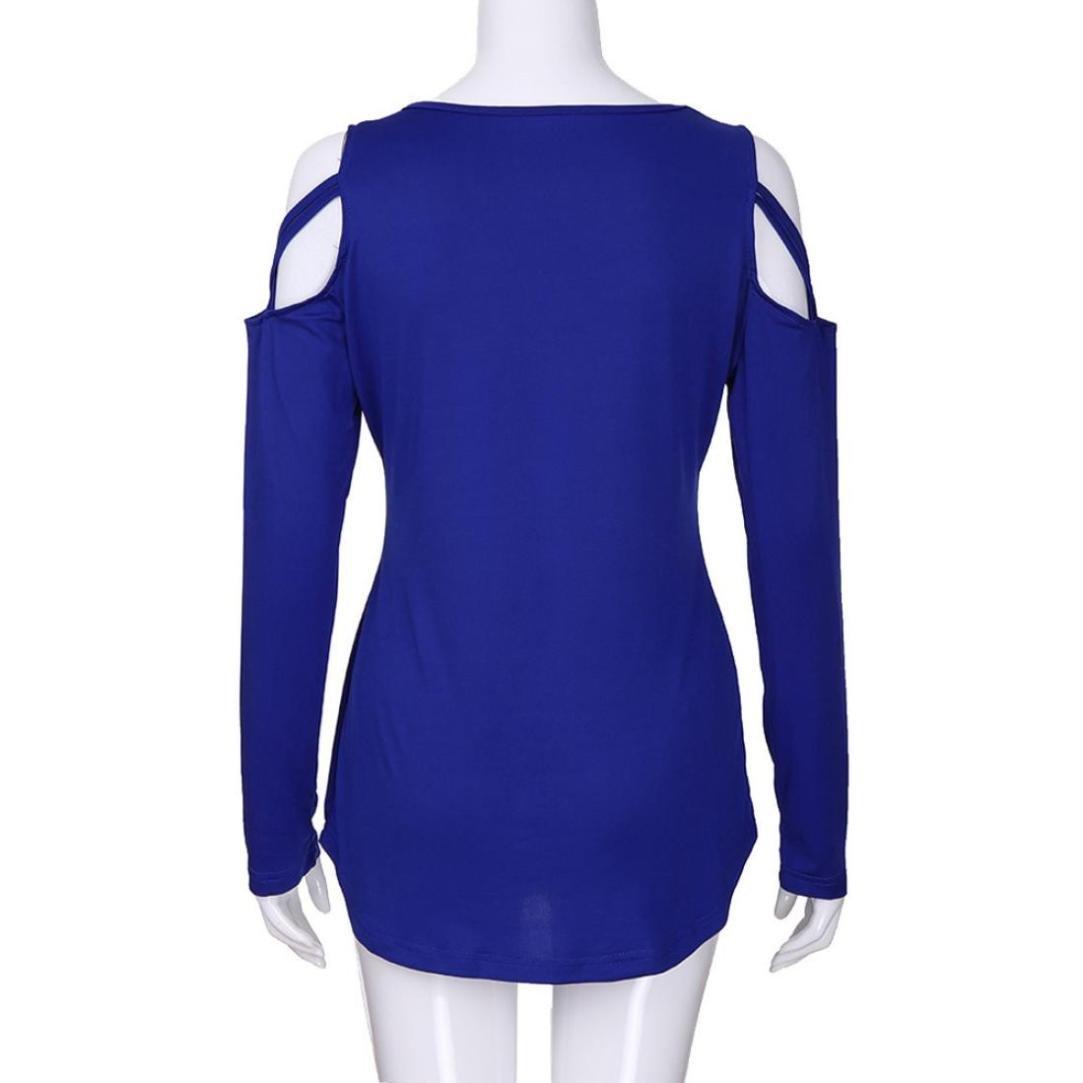 Longra Nuevo Producto de Manga Larga con Estampado de Tiras Strappy Off Shoulder T-Shirt Tops Blusas para España Mujeres: Amazon.es: Deportes y aire ...