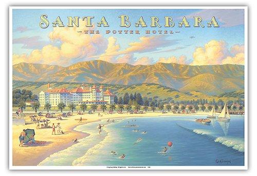 Santa Barbara, California - The Potter Hotel - Vintage Style World Travel Poster by Kerne Erickson - Master Art Print - 13 x 19in - Hotel Santa Barbara California Art