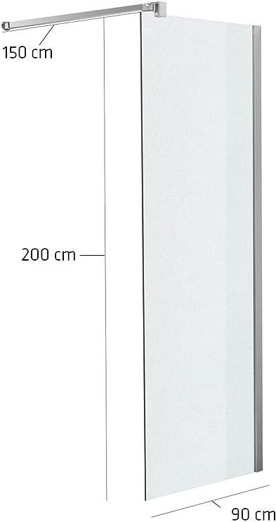 Fine and Quality Germany Mampara 90 x 200 x 150 cm Cuadrado milchglas: Amazon.es: Jardín