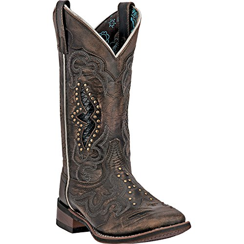 Leather Cowboy Womens Boots - Laredo Womens Black/Tan Cowboy Boots Leather Broad Square Toe 10 W