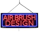 Large LED Open Sign ''AIR BRUSH DESIGN'' 13''X32'' size, ON / OFF / FLASHING MODE (LED-Factory #2735)