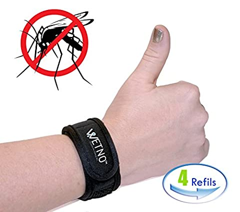 Anti-Mosquito Repellent Bracelet by Wetno Wrist Band For Any Occasion, With 4 Free Refills, All Natural, DEET-FREE, For Adults, & Children Indoor & Outdoor Insect Protection, (Cvs Hours)