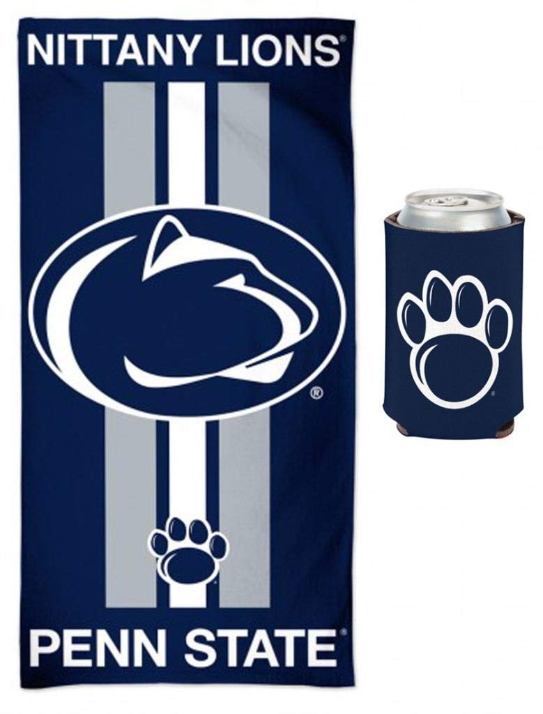 WinCraft Bundle 2 Items: Penn State Nittany Lions NCAA School Beach/Dorm 30 x 60 Inch Towel & Can Coolie by WinCraft